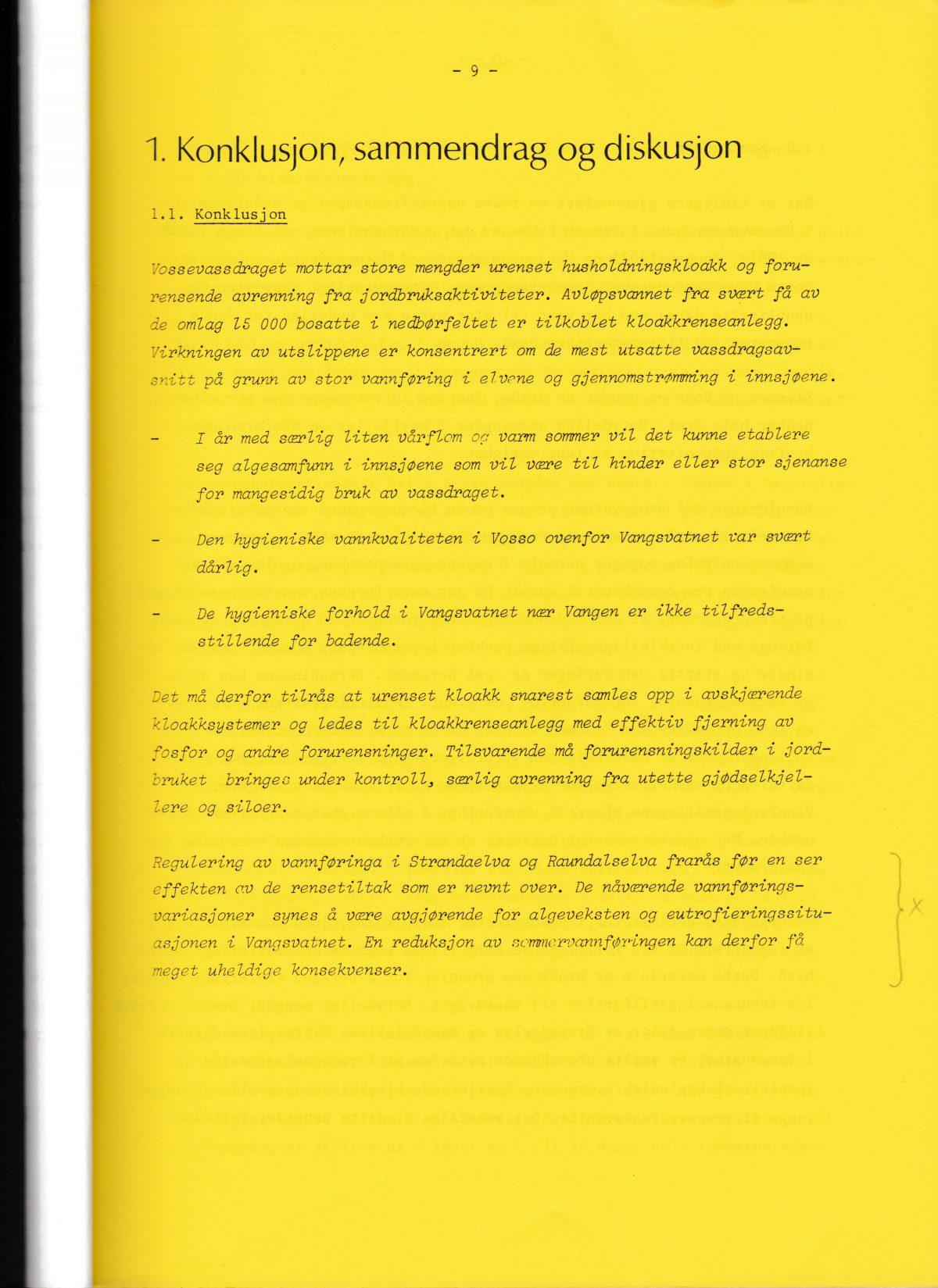 NIVA: Undersøkelse av Vossovassdraget 1977